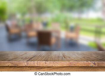 madeira, tabela, em, restaurante