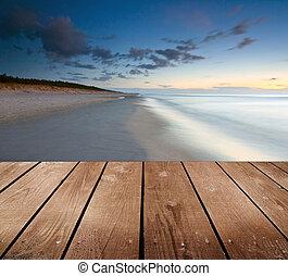 madeira, tabela., pôr do sol, vazio, convés