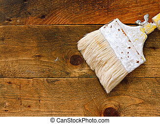 madeira, tabela, usado, antigas, Pincel