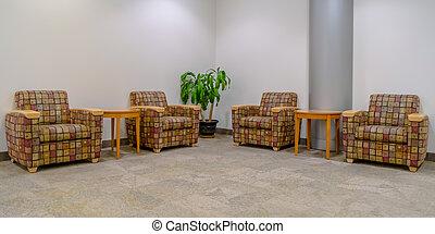 madeira, tabelas, sala, acolchoado, poltronas