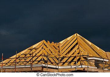 madeira, telhado, construção