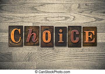 madeira, tema, letterpress, escolha