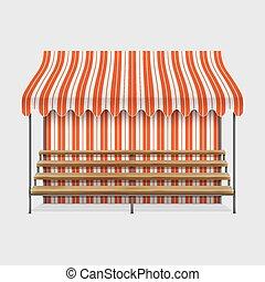 madeira, tenda, mercado, shelves.