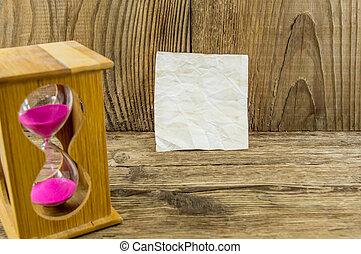 madeira, texto, ampulheta, fundo, espaço