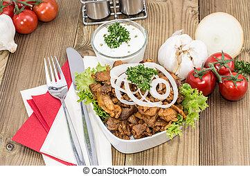 madeira, tigela, carne, kebab, enchido