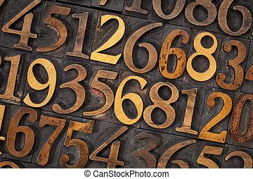 madeira, tipo, número, abstratos