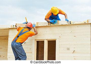 madeira, trabalho, carpinteiros, telhado