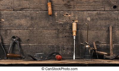 madeira, usado, antigas, carpinteiro, ferramentas