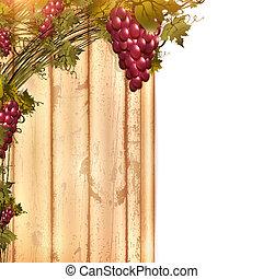 madeira, uva, vermelho, cerca