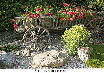 madeira, vagão, flores, antigas, enchido