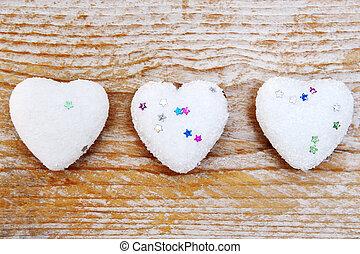 madeira,  valentines,  -, fundo, corações, Dia