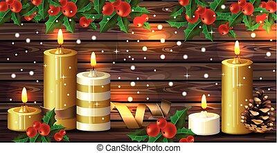 madeira, velas, sobre, feriados, experiência., vetorial, cartões, natal, feliz