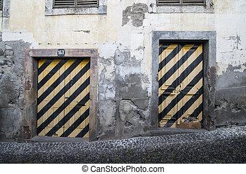 madeira, velha, funchal, zona, portugal, pintura