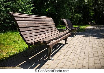 madeira, verão, banco parque