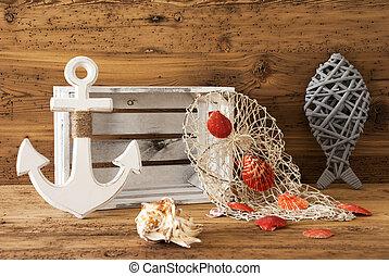 madeira, verão, decoração, fundo,  nautic