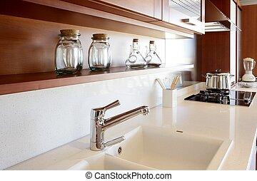 madeira vermelha, cozinha, branca, cozinha, banco