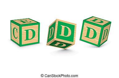 madeira, vetorial, blocos, d, letra