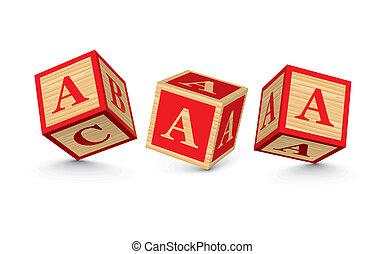 madeira, vetorial, blocos, letra