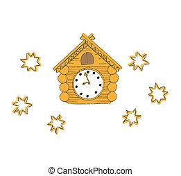 madeira, vetorial, ilustração, relógio cuckoo