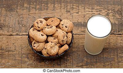 madeira, vidro, biscoitos, leite, tabela