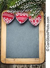 madeira, vindima, árvore, decorações, quadro-negro, borda, natal