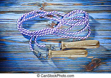 madeira, vindima, corda, tábua, pular