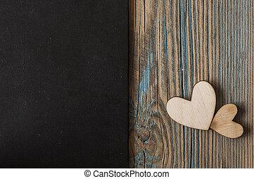madeira, vindima, dois, colocado, fundo, corações, nicely