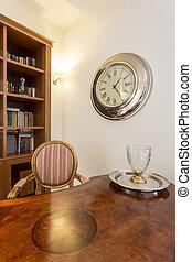 madeira, vindima, escrivaninha, em, um, clássicas, escritório