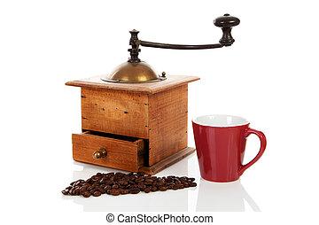 madeira, vindima, moedor café, antigas