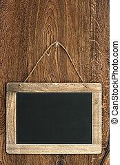madeira, vindima, penduradas, parede, quadro-negro