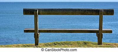 madeira, vista, mar, negligenciar, banco