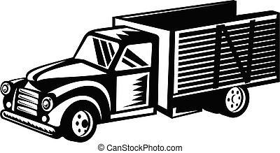 madeira, woodcut, lado, pickup, retro, branca, pretas, caminhão, vindima, americano, trilhos, clássicas