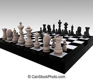 madeira, -, xadrez, 3d