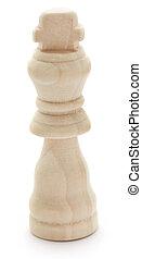 madeira, xadrez, rei, sobre, fundo branco