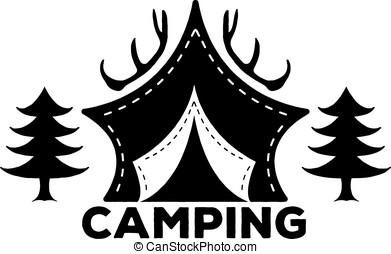 madeiras, acampamento, apenas, barracas, caminhada, ou, decoração, floresta, vetorial, eps8, chifres, logotipo, ilustrações