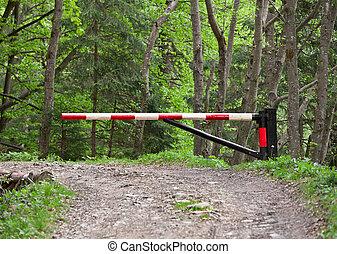 madeiras, bloqueando, barreira estrada