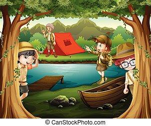 madeiras, crianças, acampamento