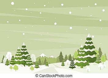 madeiras, inverno, neve, pinho, fundo, árvores, natal,...