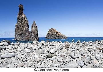 madeira's,  (portugal), roccia, formazioni, costa