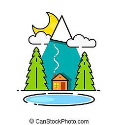 madeiras, registro, saudação, seu, vetorial, cabana, pronto, desenho, cartão, ícone