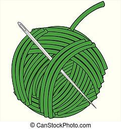 madeja, ilustración, verde, needle.vector, hilo
