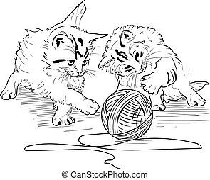 madeja, juego, hilos, gatitos