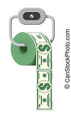 madeja, papel higiénico, dólar, dinero