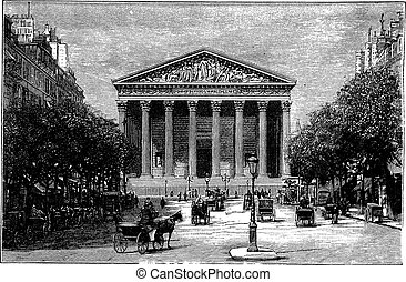 Madeleine Church and Rue Royale in Paris, France, during the 1890s, vintage engraving. Old engraved illustration of Madeleine Church and Rue Royale with running carts in front.