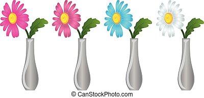 madeliefje, bloemen, vaas