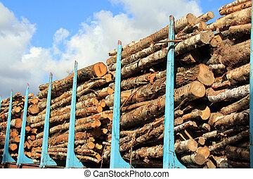 madera, apilado,  Railcar