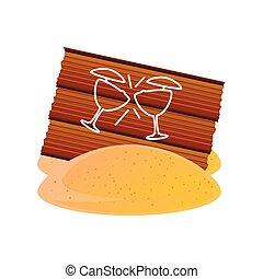 madera, arena, detallado, viaje, estilo, vacaciones del verano, tabla, barra, cócteles