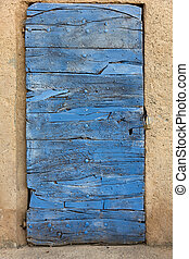 madera, azul, viejo, construido, puerta, arriba, colored.