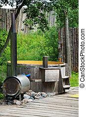 madera, baño, stove., furo, japonés