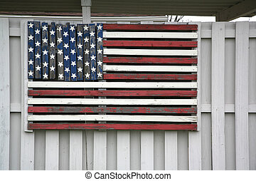 madera, bandera estadounidense, en, cerca